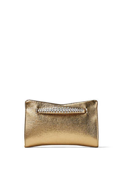 Venus Crystal-Embellished Metallic Leather Clutch