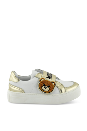 Logo and Teddy Bear Leather Sneakers
