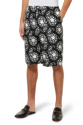 Star Print Silk Shorts