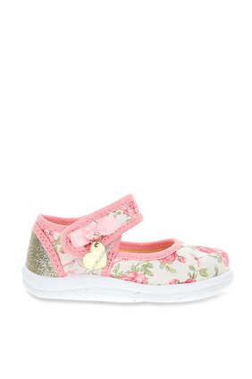Floral Glitter Ballet Flats