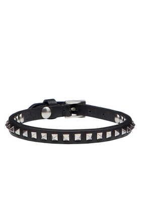 Valentino Garavani Leather Gunmetal Mini-Rockstud Bracelet