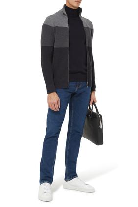 Merino Wool Color-Block Zip Cardigan