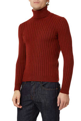 Rib-Knit Wool Sweater