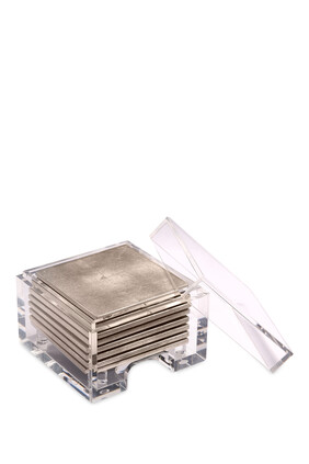 Coastbox Clear with Silver Leaf Chic Matte Coasters
