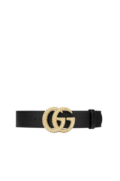 Textured Double G Leather Belt