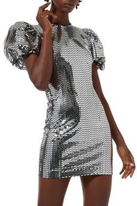 Geometric Pattern Puff-Sleeves Dress