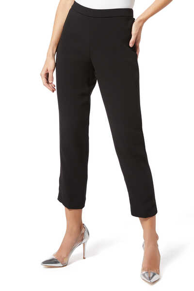 Black Crepe Pull-On Cropped Pants