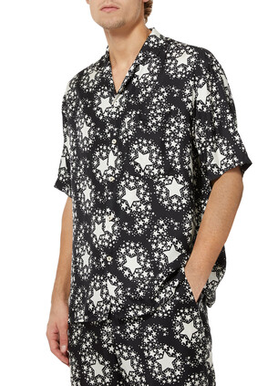 Star Print Silk Bowling Shirt