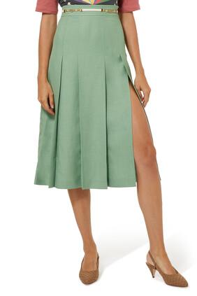 Viscose Linen Pleated Skirt