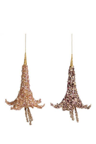 Pearl Trump Flower Ornaments, Set of Two