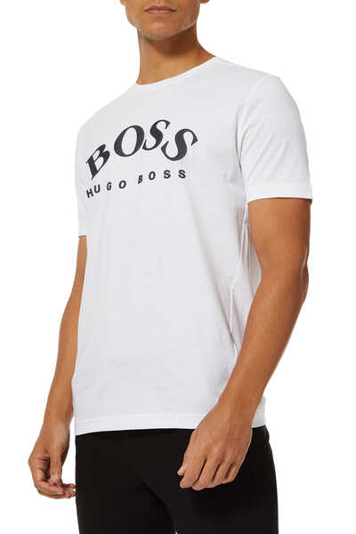 Curved Logo Cotton T-Shirt
