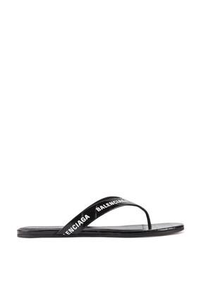 Allover Logo Round Thong Sandals