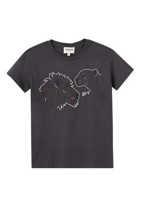 Lion Print Organic Cotton Jersey T-shirt