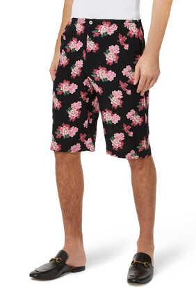 Peony Print Silk Shorts
