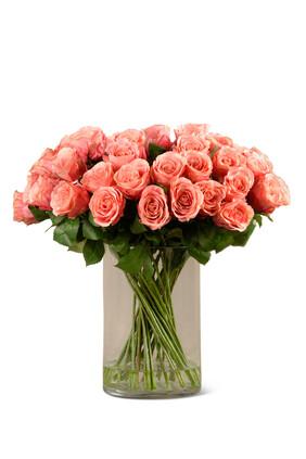 Artificial Rose Arrangement in Glass Vase