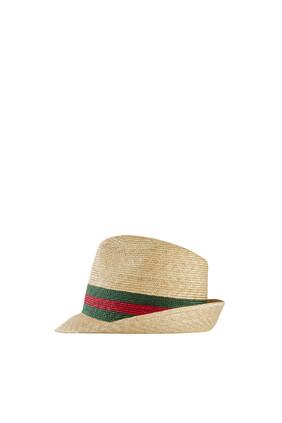 Woven Straw Fedora Hat
