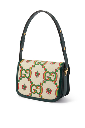 Gucci Small 100 Horsebit 1955 Bag in Beige and Green Jacquard