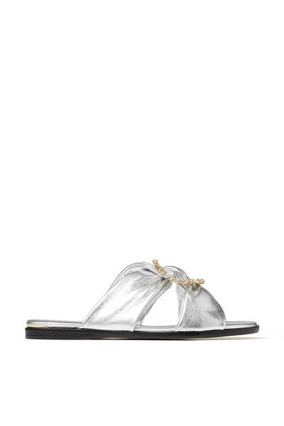 Silver Metallic Nappa Flat Sandals with Jewelled Crystal Buckle Neda Flat