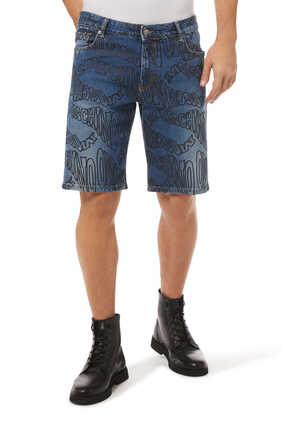 Warped Logo Denim Shorts