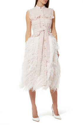 Feather-Trimmed Mid Length Dress
