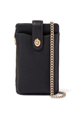 Pebbled Leather Crossbody Phone Case