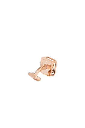 Square Gear Cufflinks In Rose Gold Plated Stainless Steel