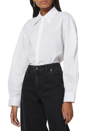 Miles Shirting Scallop Sleeve Upcycle Boyfriend Shirt