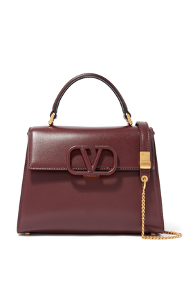 NEW: VSLING TOP HANDLE BAG WITH STRAP AND TONE-ON-TONE LEATHER HARDWARE IN SMOOTH LEATHER:BLK:One Size:BURGUNDY:One Size