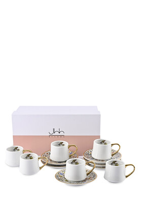 Majestic Espresso Cups and Saucers, Set of Six