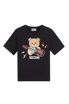 Teddy Bear with Guitar Print T-Shirt