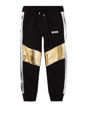 Metallic Stripe Trimmed Cotton Sweatpants