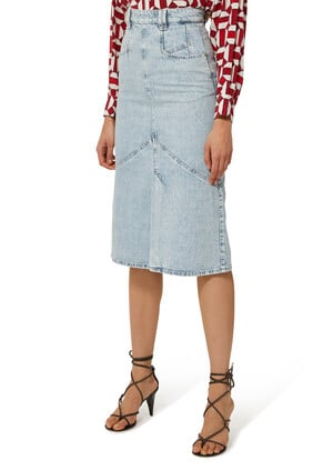 Pomano Fluted Denim Skirt