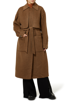 Belted Tweed Trench Coat