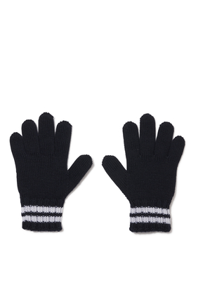 Striped Logo Gloves