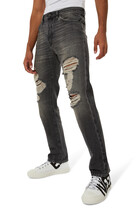 V-Logo Distressed Jeans