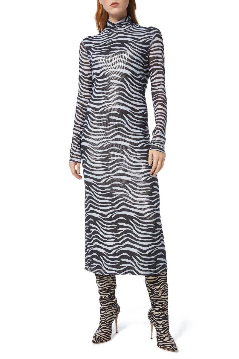 Brae Zebra-Print Midi Dress image number 1