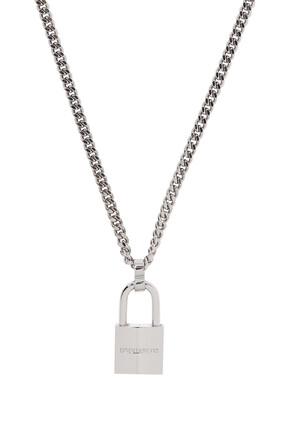 Silver Tone Logo Necklace