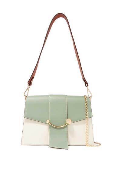 Crescent Shoulder Tri-Color Leather Bag