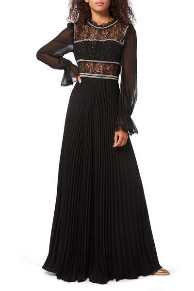 Sequin Circle Lace And Chiffon Sleeve Maxi Dress