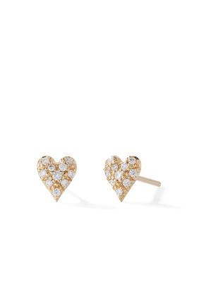 Small Diamond Heart Earrings