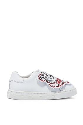 Kids Tiger Print Slip-on Leather Sneakers