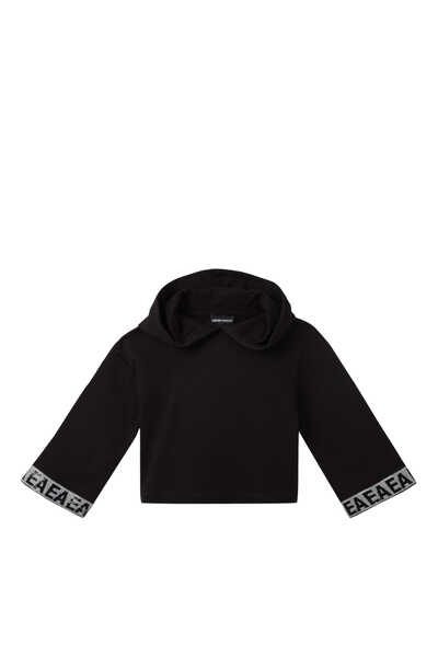 Sequin Logo Cropped Hoodie