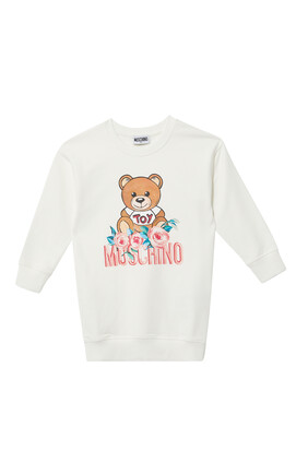 Teddy Bear Flowers Logo Print Shirt Dress