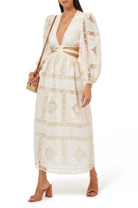 Aliane Broderie Anglaise Cotton Midi Dress