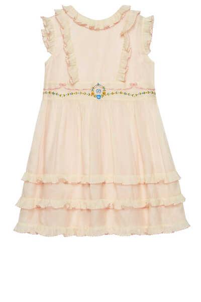 Embroidered Cotton Silk Dress