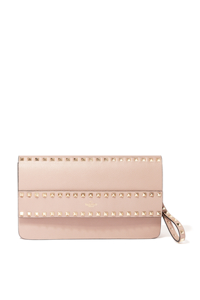 ROCKSTUD ALL AROUND PLATINUM STUDS SMALL WRISTLET CLUTCH IN GRAINY LEATHER:BEIGE:One Size
