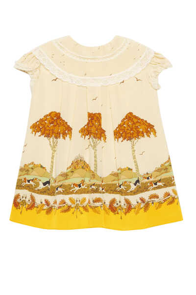 Dogs and Trees Print Dress