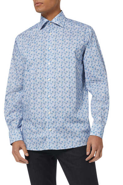 Floral Twill Contemporary Fit Shirt