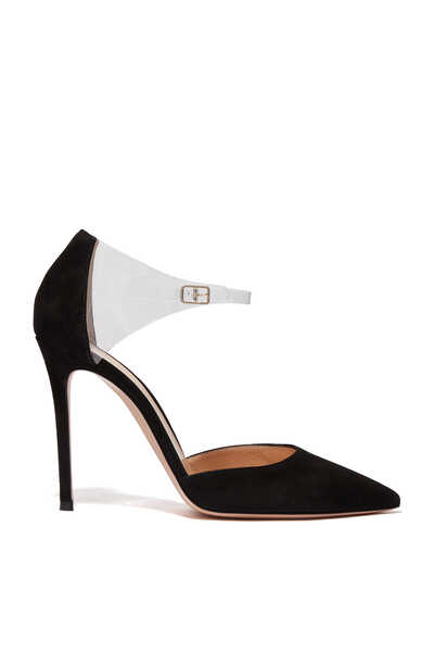 Suede And Plexi Ankle Tie Pumps
