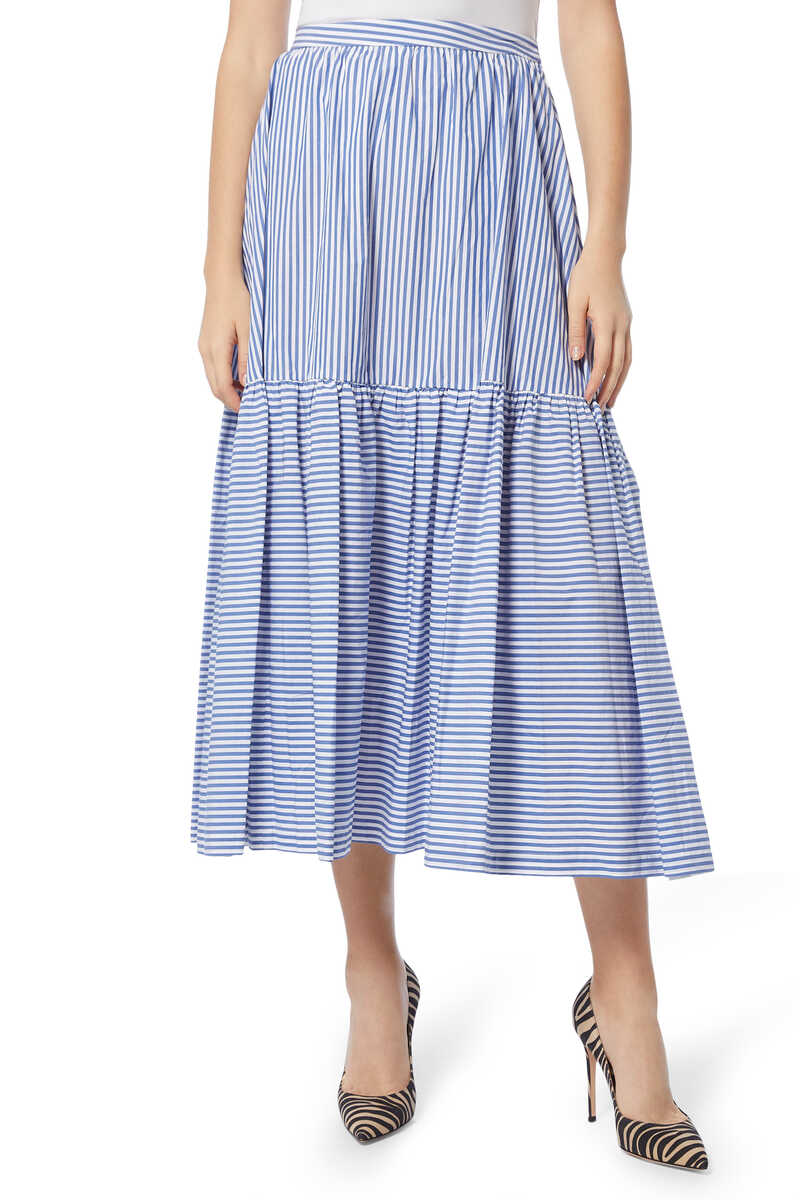 Orchid Striped Cotton Skirt image number 1